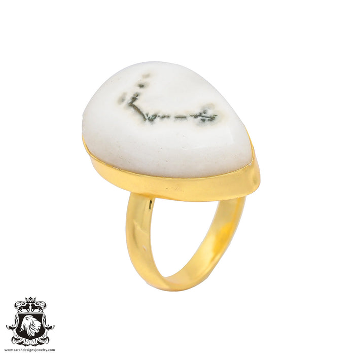 Size 7.5 - Size 9 Adjustable Solar Quartz 24K Gold Plated Ring GPR149