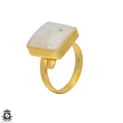 Size 9.5 - Size 11 Adjustable Moonstone 24K Gold Plated Ring GPR66