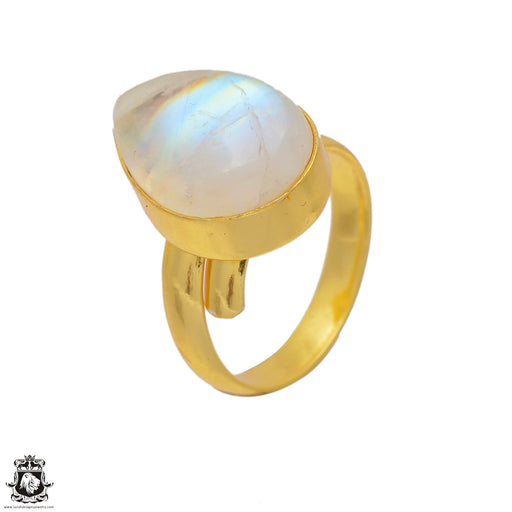 Size 8.5 - Size 10 Adjustable Moonstone 24K Gold Plated Ring GPR56