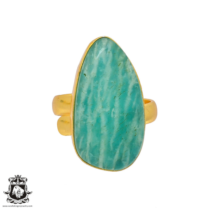 Size 8.5 - Size 10 Adjustable Amazonite 24K Gold Plated Ring GPR346