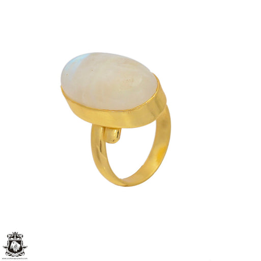 Size 6.5 - Size 8 Adjustable Moonstone 24K Gold Plated Ring GPR59