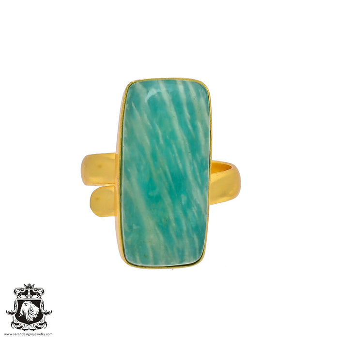 Size 9.5 - Size 11 Adjustable Amazonite 24K Gold Plated Ring GPR352