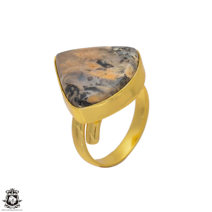 Size 8.5 - Size 10 Adjustable Montana Agate 24K Gold Plated Ring GPR93