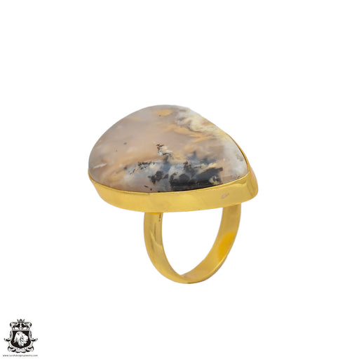 Size 8.5 - Size 10 Adjustable Montana Agate 24K Gold Plated Ring GPR88