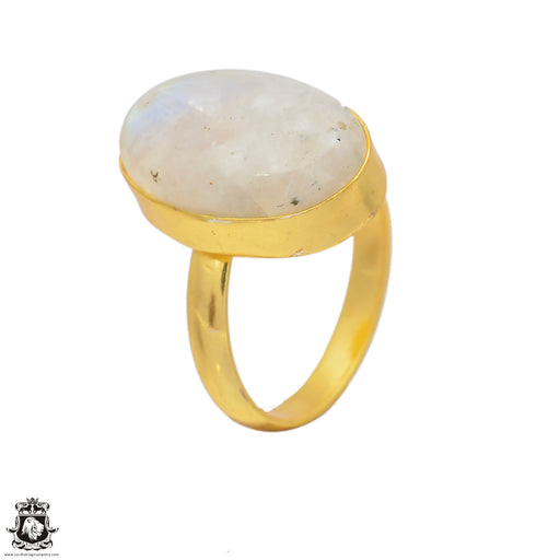 Size 10.5 - Size 12 Adjustable Moonstone 24K Gold Plated Ring GPR73