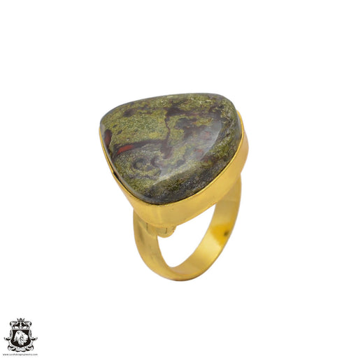 Size 8.5 - Size 10 Adjustable Dragon Blood Stone 24K Gold Plated Ring GPR90