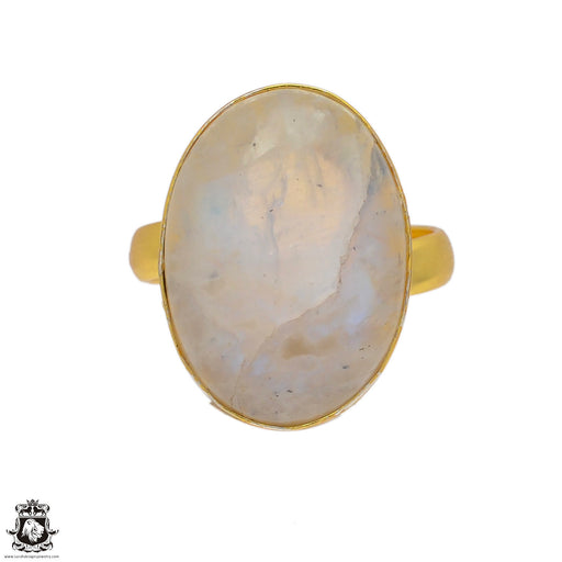 Size 8.5 - Size 10 Adjustable Moonstone 24K Gold Plated Ring GPR77