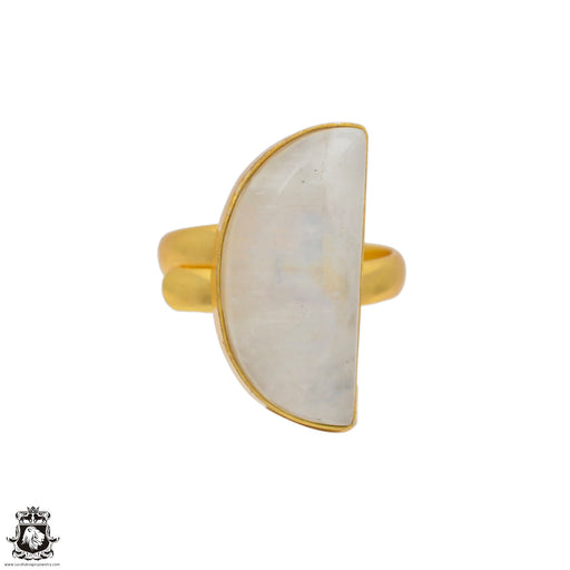Size 10.5 - Size 12 Adjustable Moonstone 24K Gold Plated Ring GPR80
