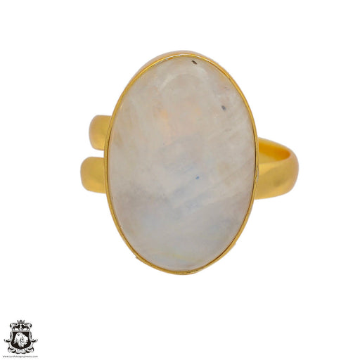 Size 9.5 - Size 11 Adjustable Moonstone 24K Gold Plated Ring GPR79