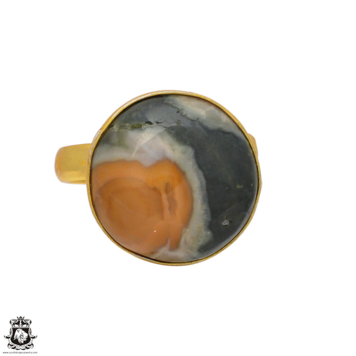 Size 9.5 - Size 11 Adjustable Ocean Jasper 24K Gold Plated Ring GPR114