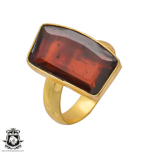 Size 8.5 - Size 10 Adjustable Tanzanian Spessartite Garnet 24K Gold Plated Ring GPR366