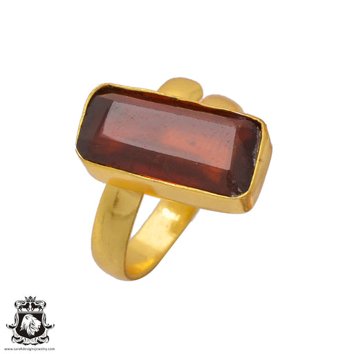 Size 8.5 - Size 10 Adjustable Tanzanian Spessartite Garnet 24K Gold Plated Ring GPR367