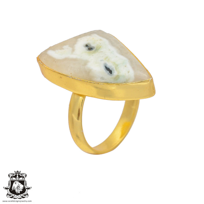 Size 7.5 - Size 9 Adjustable Solar Quartz 24K Gold Plated Ring GPR150