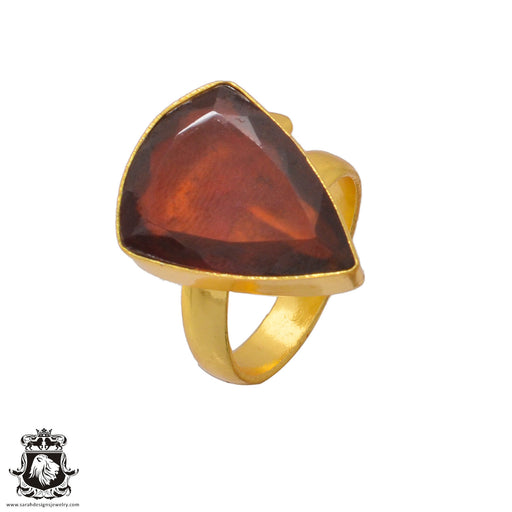 Size 7.5 - Size 9 Adjustable Tanzanian Spessartite Garnet 24K Gold Plated Ring GPR370