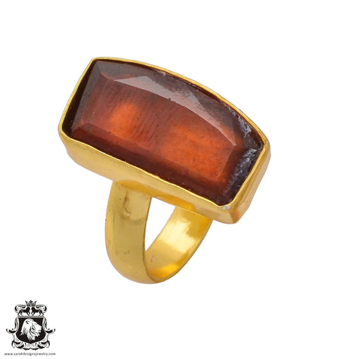 Size 8.5 - Size 10 Adjustable Tanzanian Spessartite Garnet 24K Gold Plated Ring GPR371