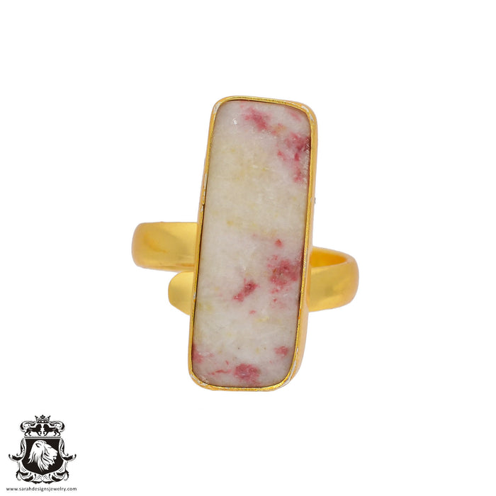 Size 8.5 - Size 10 Adjustable Tourmaline in Quartz 24K Gold Plated Ring GPR376