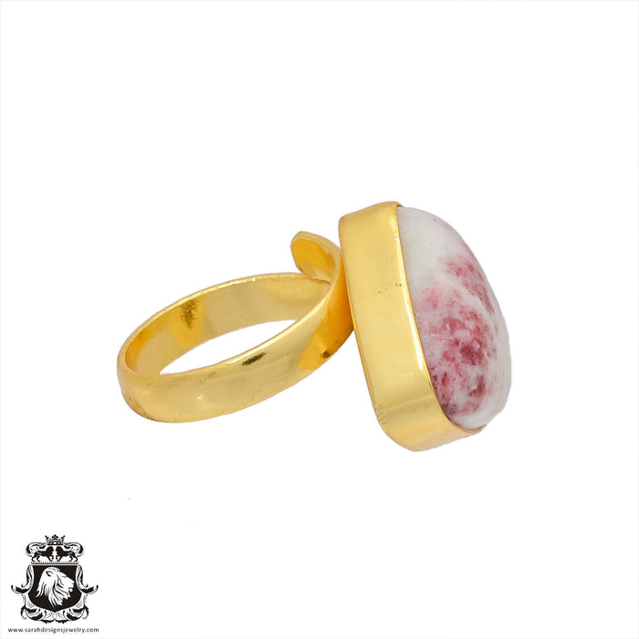 Size 6.5 - Size 8 Adjustable Tourmaline in Quartz 24K Gold Plated Ring GPR381