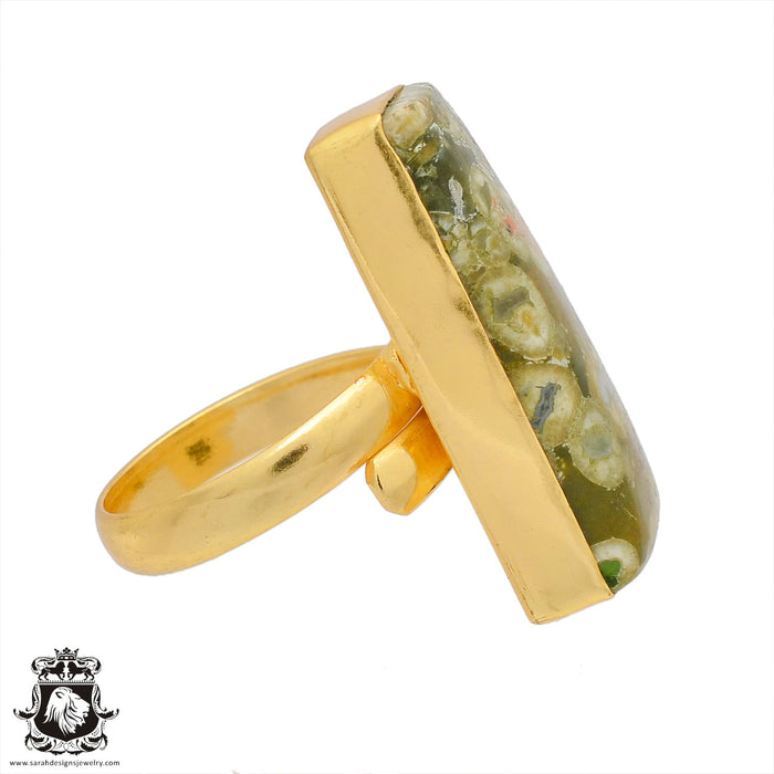 Size 8.5 - Size 10 Adjustable Rhyolite Rainforest Jasper 24K Gold Plated Ring GPR388