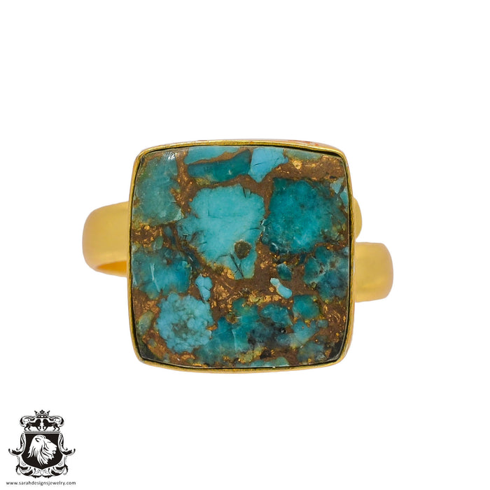 Size 10.5 - Size 12 Adjustable Blue Pyrite Turquoise 24K Gold Plated Ring GPR394