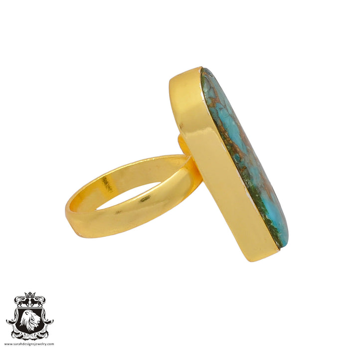 Size 9.5 - Size 11 Adjustable Blue Pyrite Turquoise 24K Gold Plated Ring GPR397