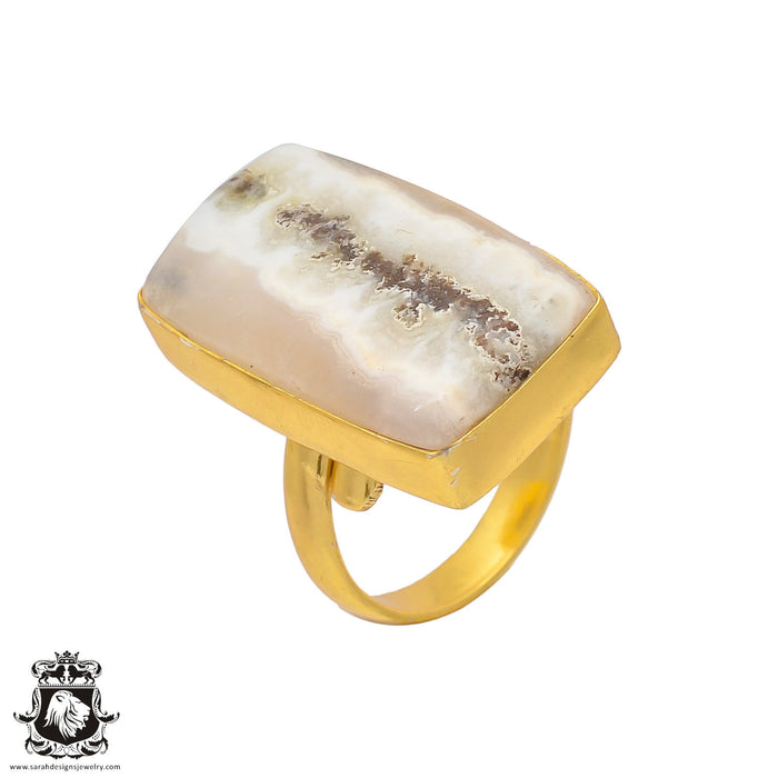 Size 9.5 - Size 11 Adjustable Solar Quartz 24K Gold Plated Ring GPR166