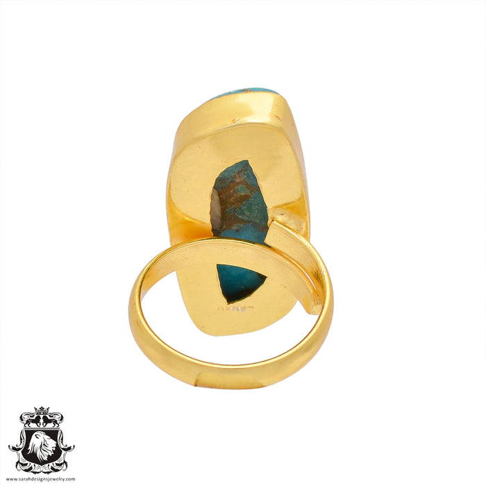 Size 7.5 - Size 9 Adjustable Spiny Oyster Turquoise 24K Gold Plated Ring GPR408