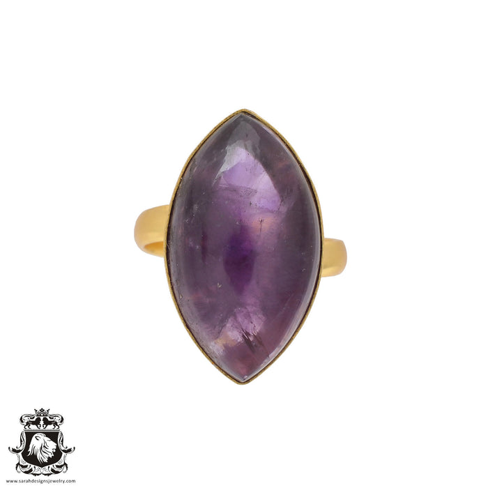 Size 10.5 - Size 12 Adjustable Amethyst 24K Gold Plated Ring GPR415