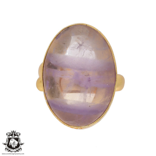 Size 9.5 - Size 11 Adjustable Ametrine 24K Gold Plated Ring GPR424