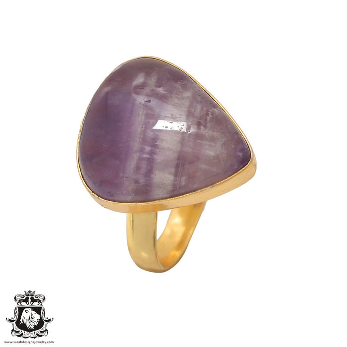 Size 8.5 - Size 10 Adjustable Chevron Amethyst24K Gold Plated Ring GPR425