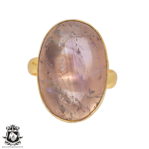 Size 9.5 - Size 11 Adjustable Ametrine 24K Gold Plated Ring GPR426