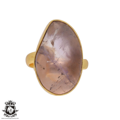 Size 10.5 - Size 12 Adjustable Ametrine 24K Gold Plated Ring GPR430