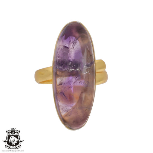 Size 9.5 - Size 11 Adjustable Ametrine 24K Gold Plated Ring GPR438