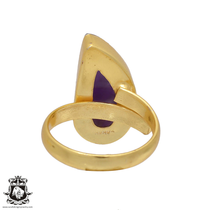 Size 9.5 - Size 11 Adjustable Amethyst 24K Gold Plated Ring GPR440