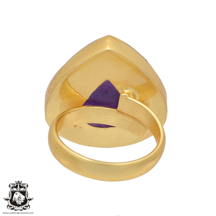 Size 6.5 - Size 8 Adjustable Amethyst 24K Gold Plated Ring GPR444