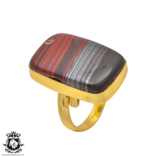 Size 8.5 - Size 10 Adjustable Red Tiger's Eye 24K Gold Plated Ring GPR206