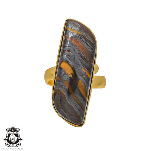 Size 7.5 - Size 9 Adjustable Marra Mamba Tiger's Eye 24K Gold Plated Ring GPR207