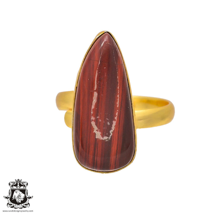 Size 10.5 - Size 12 Adjustable Red Iron Tiger's Eye 24K Gold Plated Ring GPR214