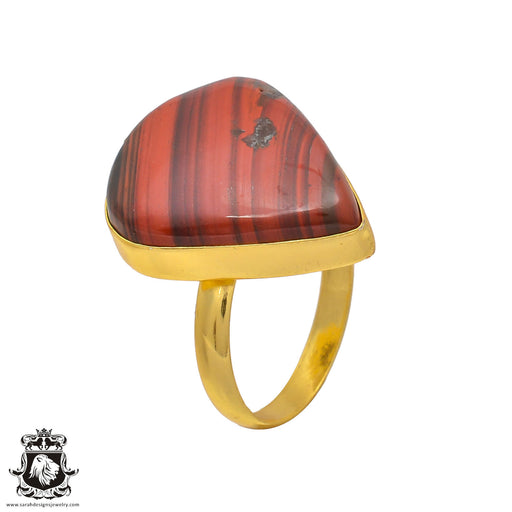 Size 10.5 - Size 12 Adjustable Red Iron Tiger's Eye 24K Gold Plated Ring GPR217