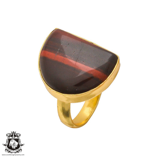 Size 6.5 - Size 8 Adjustable Iron Tiger's Eye 24K Gold Plated Ring GPR223