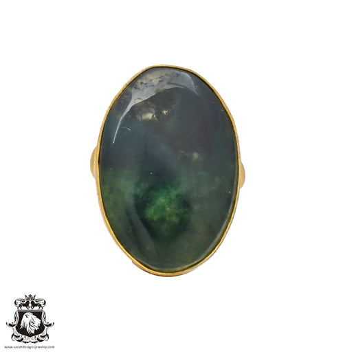 Size 6.5 - Size 8 Adjustable Moss Agate 24K Gold Plated Ring GPR235
