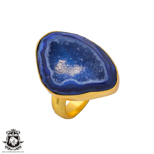 Size 10.5 - Size 12 Adjustable Ocean Agate Geode 24K Gold Plated Ring GPR259