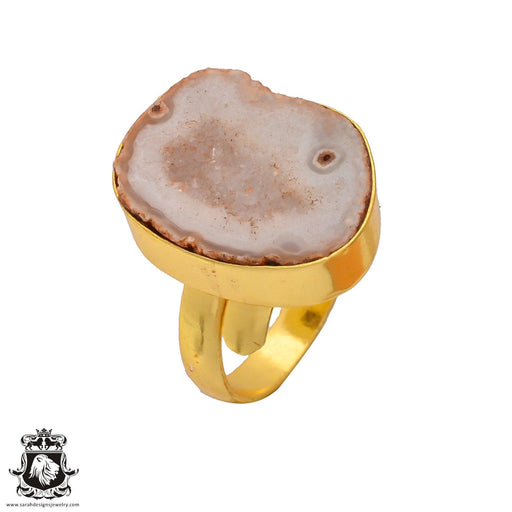 Size 8.5 - Size 10 Adjustable Rhodochrosite Stalactite Geode 24K Gold Plated Ring GPR270