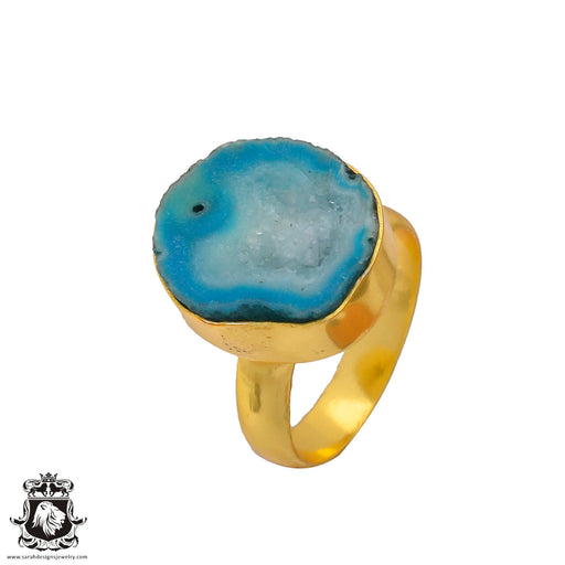 Size 7.5 - Size 9 Adjustable Ocean Agate Geode  24K Gold Plated Ring GPR271