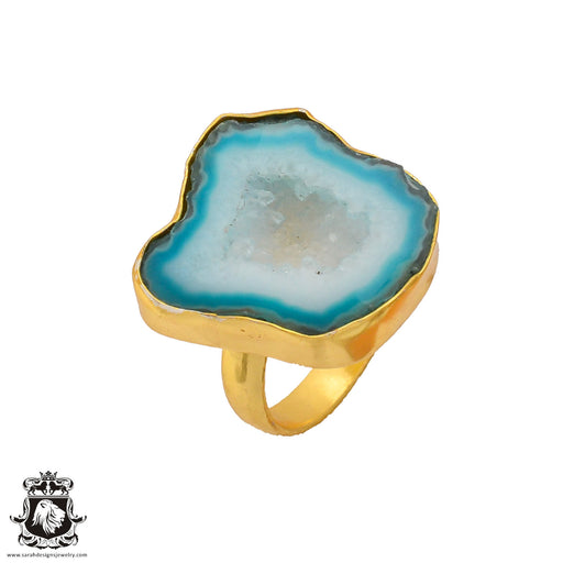 Size 8.5 - Size 10 Adjustable Ocean Agate Geode  24K Gold Plated Ring GPR274