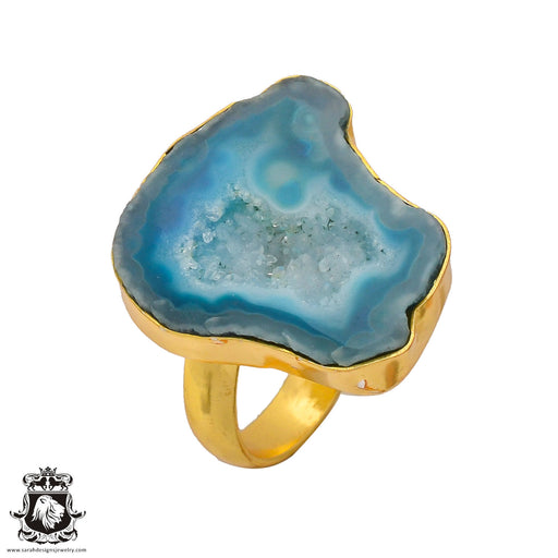 Size 8.5 - Size 10 Adjustable Ocean Agate Geode  24K Gold Plated Ring GPR276