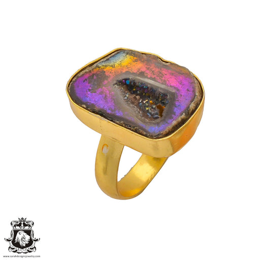 Size 10.5 - Size 12 Adjustable Titanium Geode 24K Gold Plated Ring GPR277