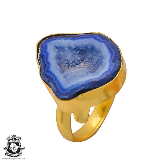 Size 8.5 - Size 10 Adjustable Ocean Agate Geode 24K Gold Plated Ring GPR285