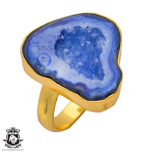 Size 9.5 - Size 11 Adjustable Ocean Agate Geode 24K Gold Plated Ring GPR288