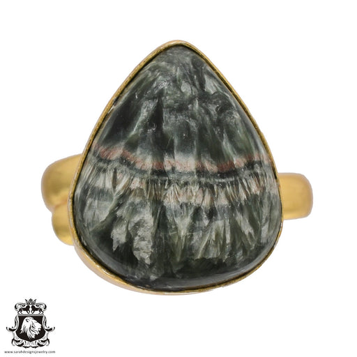 Size 10.5 - Size 12 Adjustable Size 10.5 - Size 12 Adjustable Seraphinite 24K Gold Plated Ring GPR505