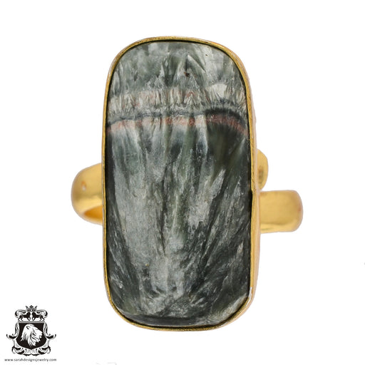 Size 8.5 - Size 10 Adjustable Seraphinite 24K Gold Plated Ring GPR508